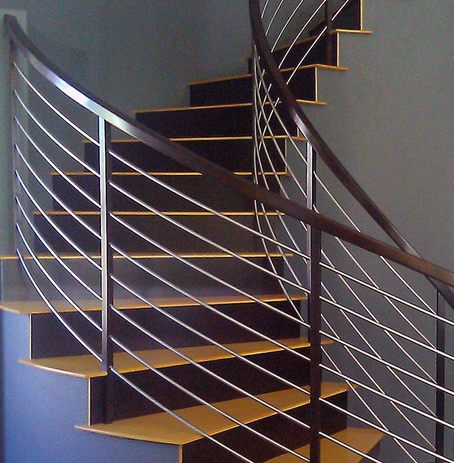 Horizontal Stainless circular staircase close up