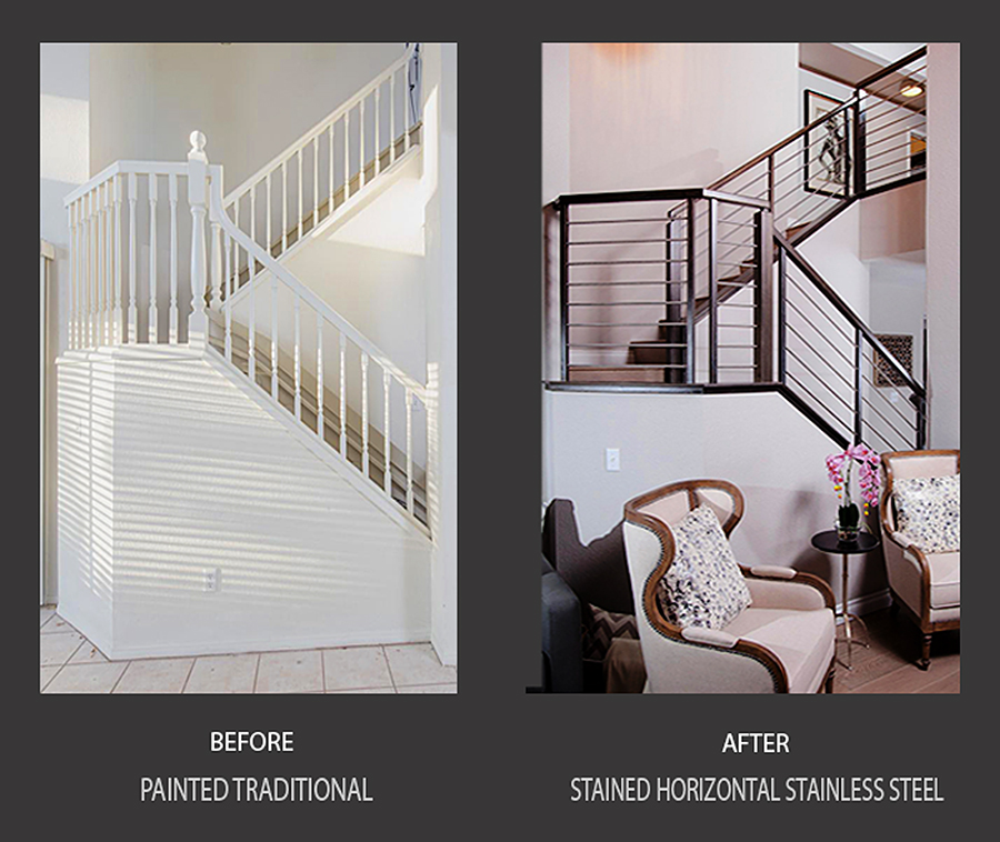 Nevada Stairs horizontal stainless steel staircase Railing before and afters for HGTV 's Brother vs. Brother in Las Vegas season one.