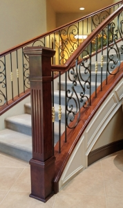Las Vegas Iron Bannister Wood Handrails and Newels Staircase Railing Traditional Stair style